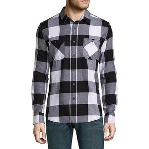 Arizona Jean Co Black White Plaid Flannel Shirt